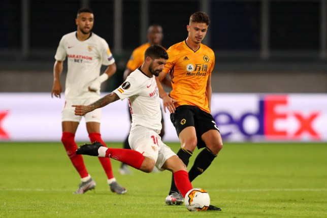 Ever Banega passes the ball during Sevilla's Europa League victory over Wolves