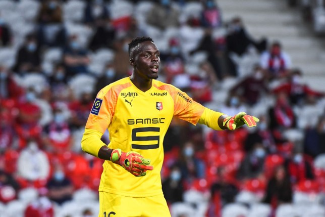 Edouard Mendy of Rennes during the French Ligue 1 soccer match between Lille and Rennes on August 22, 2020 in Lille, France.