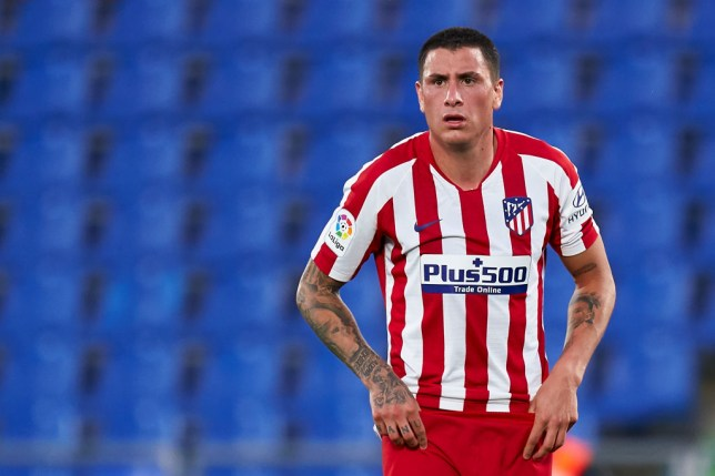 Jose Maria Gimenez of Club Atletico de Madrid looks on during the La Liga match between Getafe CF and Club Atletico de Madrid at Coliseum Alfonso Perez on July 16, 2020 in Getafe, Spain.