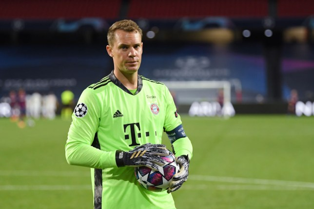 Manuel Neuer looks on during Bayern Munich's win over Barcelona in the Champions League quarter-finals
