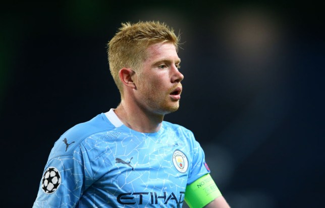 Kevin de Bruyne looks on during Manchester City's Champions League defeat to Lyon