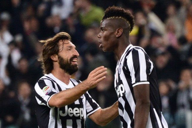 Andre Pirlo and Manchester United's Paul Pogba celebrate together during their time at Juventus