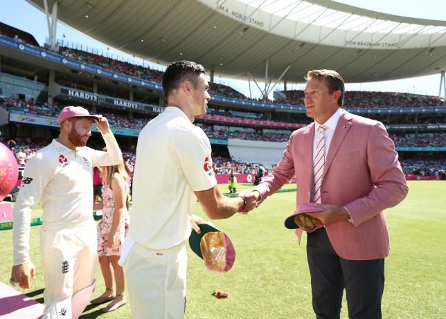 England star James Anderson shakes hands with Australia legend Glenn McGrath