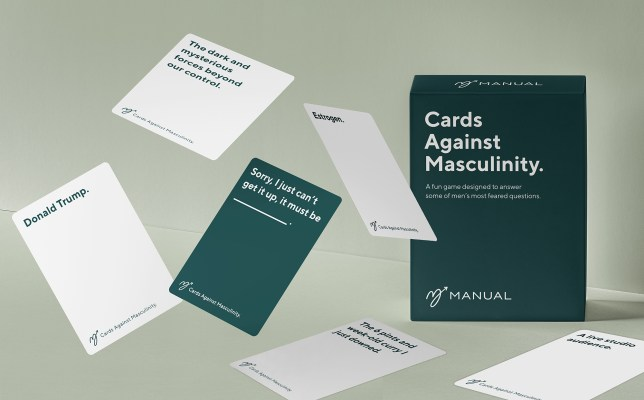 Six cards from the Cards Against Masculinity deck, created by Manual as part of a campaign around mental health and talking among men.