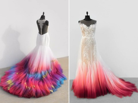 Artist makes the most colourful bridal outfits after her own 'fire' wedding dress went viral