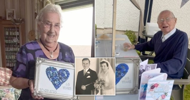 Margaret and Andy Davidson celebrating 65 years of marriage while being socially distanced