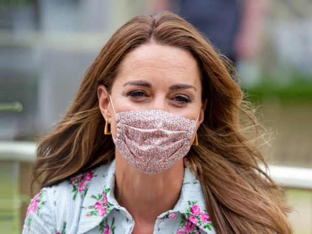 Kate Middleton in Sheffield wearing a floral face mask from kidswear brand Amaia
