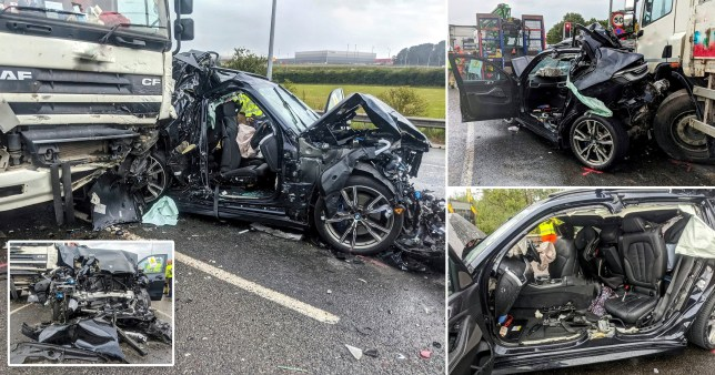 Driver somehow escaped this mangled BMW with just minor injuries