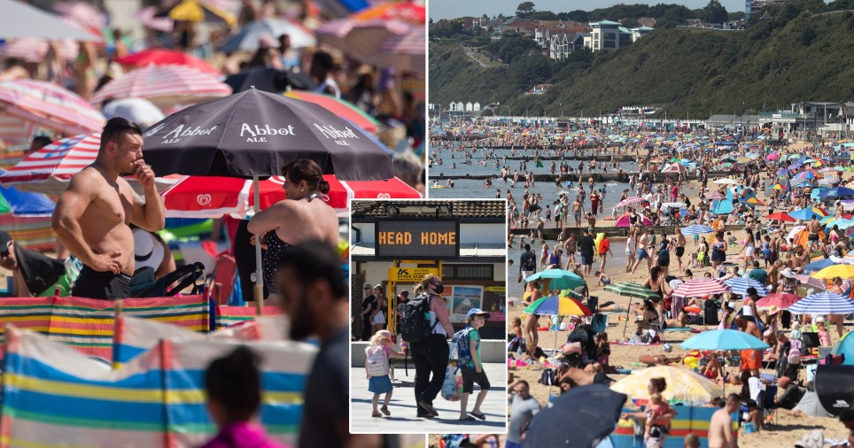 Crowds on beaches during hot weather in the UK