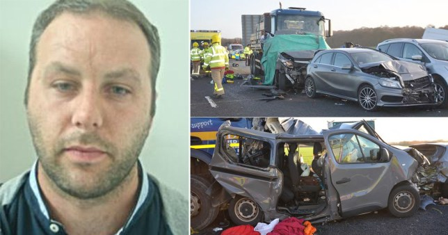 Lorry driver who killed two minibus passengers while checking Facebook jailed