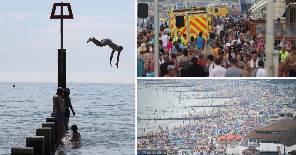 Crowds enjoy the sun as a heatwave hits Britain.