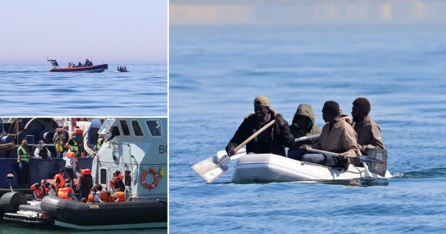 Composite image migrants crossing English Channel