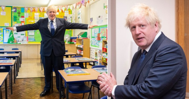 Boris Johnson in a school