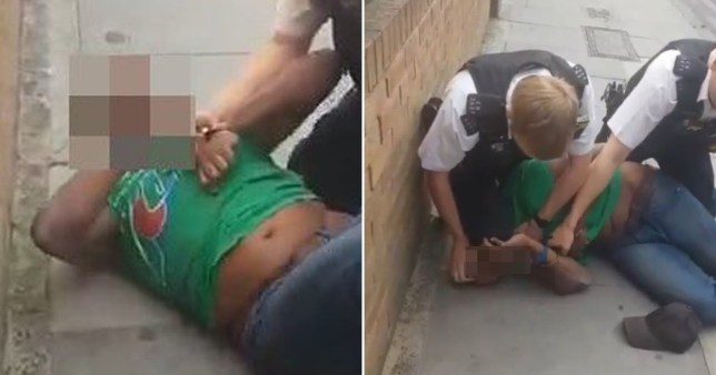 An officer is being investigated for common assault and gross misconduct after video showed him appearing to kneel on a black man's neck.