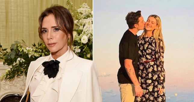Victoria Beckham pictured separately alongside picture of Brooklyn Beckham kissing Nicola Peltz on cheek