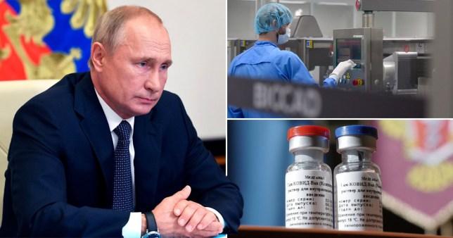 Le président russe Vladimir Poutine (à gauche) et des photos du vaccin russe contre le coronavirus en développement