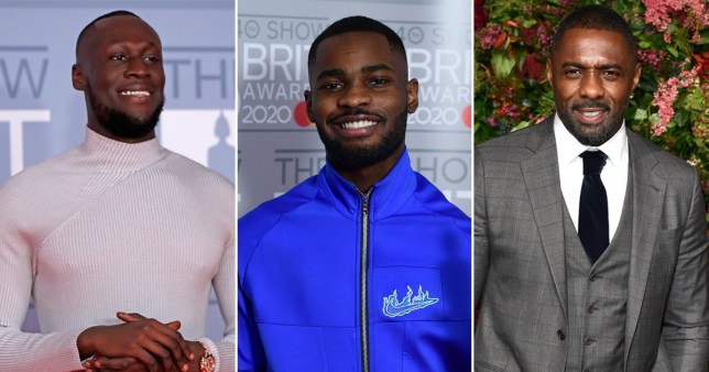 Stormzy, Dave and Idris Elba pictured separately