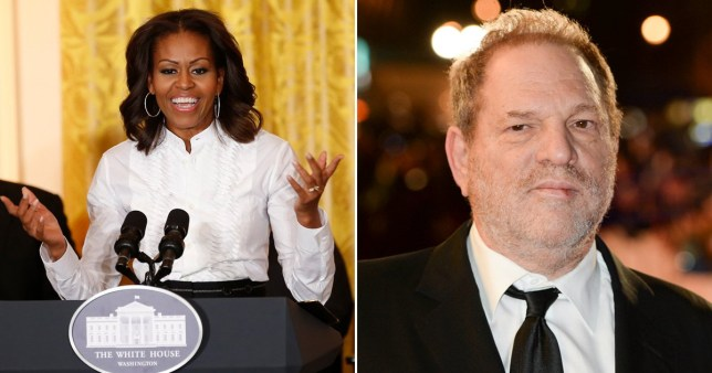 Donald Trump supporters have attacked Michelle Obama by digging up an old video of her calling convicted rapist Harvey Weinstein 'a wonderful human being'.