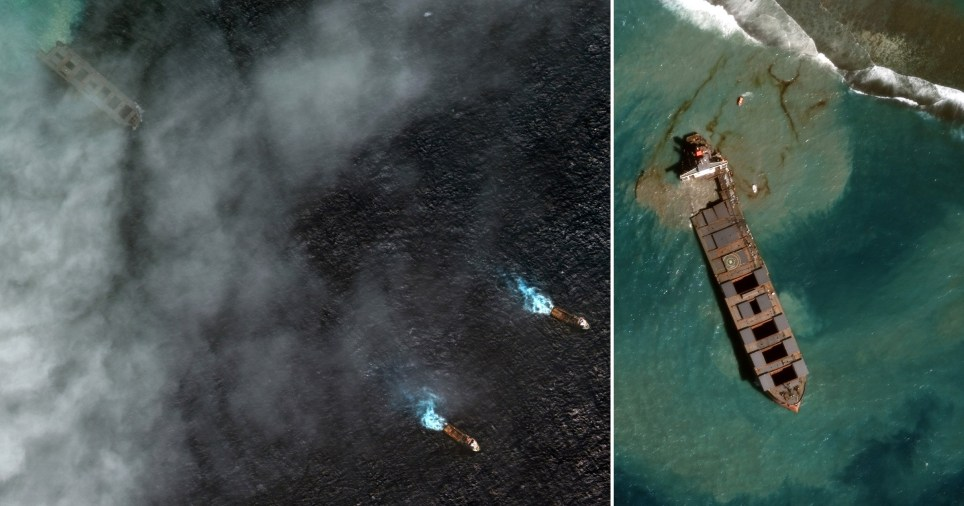 Satellite images show the stricken MV Wakashio being towed away after running around off Mauritius.