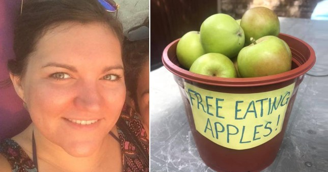 Nurse Lydia Farrell, 33, with a pot full of apples left outside her home for passers-by. She was fined £150 for 'fly tipping' by Ealing Council but this was later withdrawn