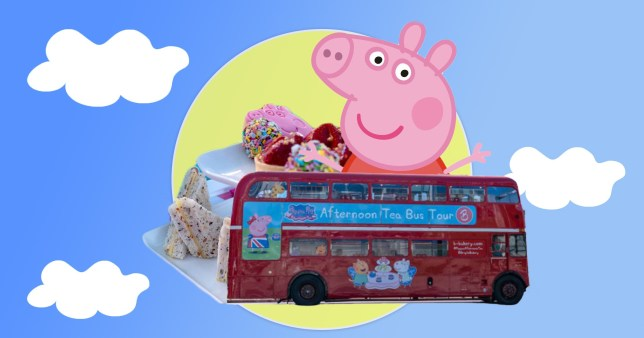 peppa pig bus on a peppa pig background