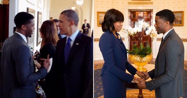 Barack Michelle Obama Chadwick Boseman