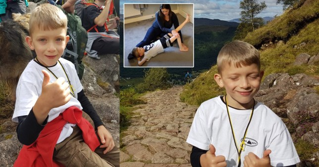 Caeden Thomson, who has cerebral palsy and was told he'd never walk again, trekked the 4,411 ft ascent to the top of Ben Nevis in the Highlands.