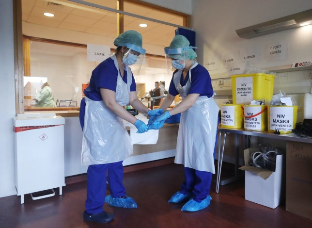 Medical staff at the Mater Hospital Covid-19 recovery ward in Belfast