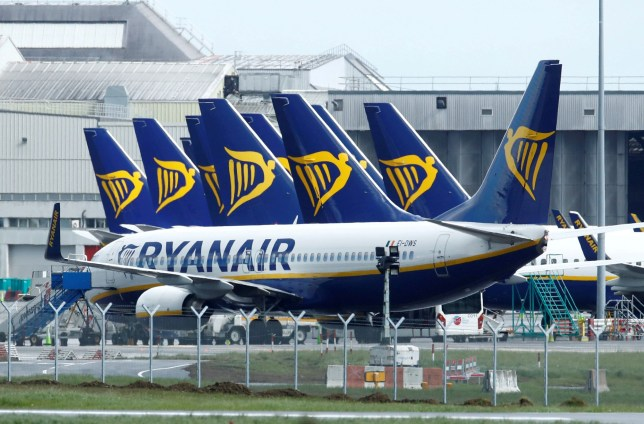 Ryanair planes are seen at Dublin Airport