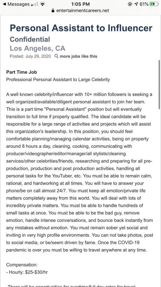 Influencer job