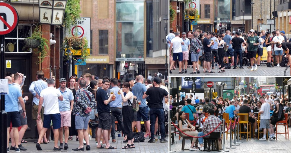 Pubs and restaurants not social distancing at all in Soho