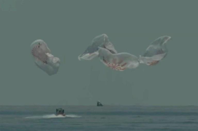Dans cette capture d'image de NASA TV, la capsule SpaceX éclabousse dimanche 2 août 2020 dans le golfe du Mexique.  Les astronautes Doug Hurley et Bob Behnken ont passé un peu plus de deux mois sur la Station spatiale internationale.  Cela marquera le premier splashdown en 45 ans pour les astronautes de la NASA et la première fois qu'une entreprise privée a transporté des gens hors de leur orbite.  (NASA TV via AP)