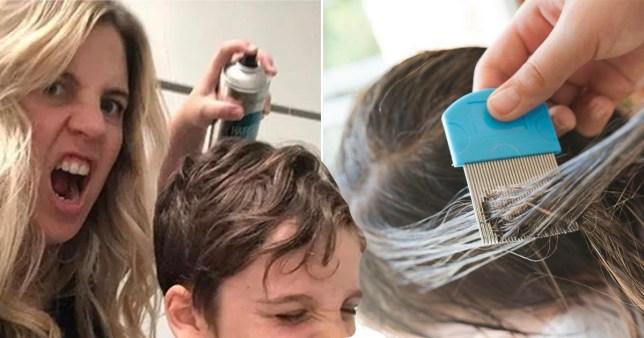 Annaliese and spraying hairspray on her son