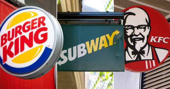 Burger King, Subway and KFC shop fronts