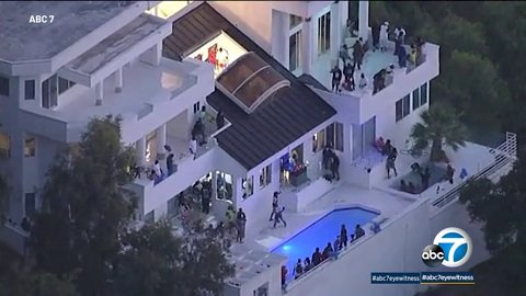 Four shot at mansion party where NFL player was at Picture: ABC7