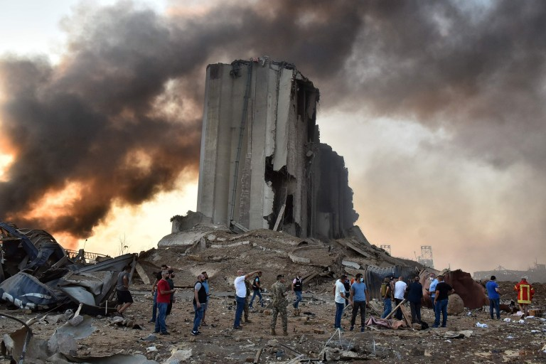 EDITORS NOTE: Graphic content / A picture shows a destroyed silo at the scene of an explosion at the port in the Lebanese capital Beirut on August 4, 2020. - Two huge explosion rocked the Lebanese capital Beirut, wounding dozens of people, shaking buildings and sending huge plumes of smoke billowing into the sky. Lebanese media carried images of people trapped under rubble, some bloodied, after the massive explosions, the cause of which was not immediately known. (Photo by STR / AFP) (Photo by STR/AFP via Getty Images)