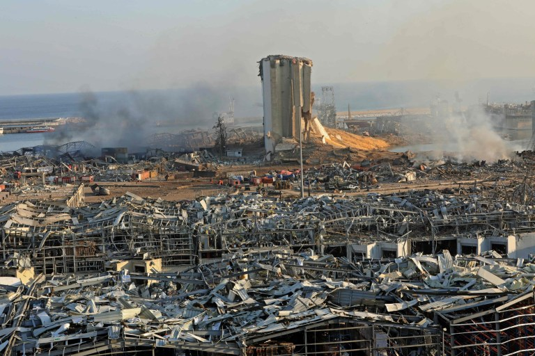 A destroyed silo is seen amid the rubble and debris following yesterday's blast at the port of Lebanon's capital Beirut, on August 5, 2020. - Rescuers worked through the night after two enormous explosions ripped through Beirut's port, killing at least 78 people and injuring thousands, as they wrecked buildings across the Lebanese capital. (Photo by Anwar AMRO / AFP) (Photo by ANWAR AMRO/AFP via Getty Images)
