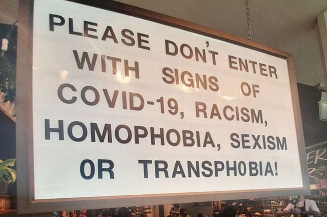 Lush puts up sign asking customers not to enter with signs of 'COVID-19, racism, sexism, homophobia, or transphobia'