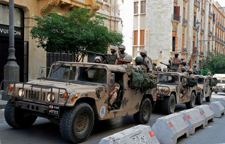 Lebanese army soldiers arrive to downtown Beirut on August 8, 2020, during a demonstration against a political leadership they blame for a monster explosion that killed more than 150 people and disfigured the capital Beirut. (Photo by ANWAR AMRO / AFP) (Photo by ANWAR AMRO/AFP via Getty Images)