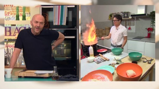 Sunday Brunch: Chef's gyoza disaster as frying pan bursts into flames on live TV