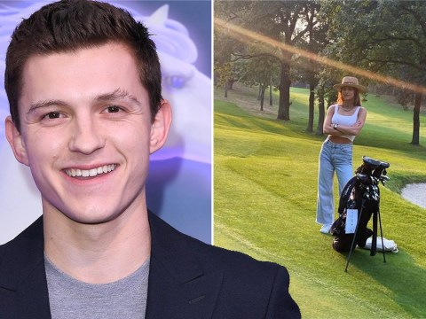 Tom Holland jokes over how 'stunning' girlfriend Nadia Parkes is as she joins him on golf course