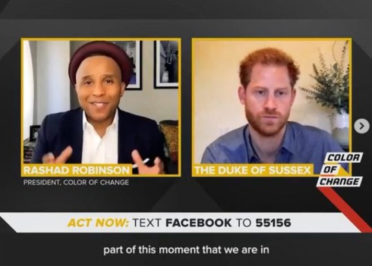 The Duke of Sussex insists it would take 'every single person on the planet' to defeat racism in a candid new virtual interview for a civil rights organisation. Prince Harry, 35, who is currently living in Tyler Perry's $14 million mansion in Beverly Hills with Meghan Markle, 38, and their son Archie, one, having stepped back from royal duty in March, is set to speak about the topic in a new interview for the Colour of Change initiative. In a clip released of the interview on Instagram, Prince Harry praised the younger generation for 'acting, rather than just saying'.