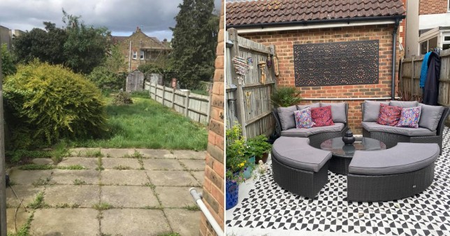 Before and after photo of the garden patio