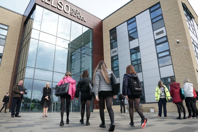 Pupils arrive at Kelso High School on the Scottish Borders