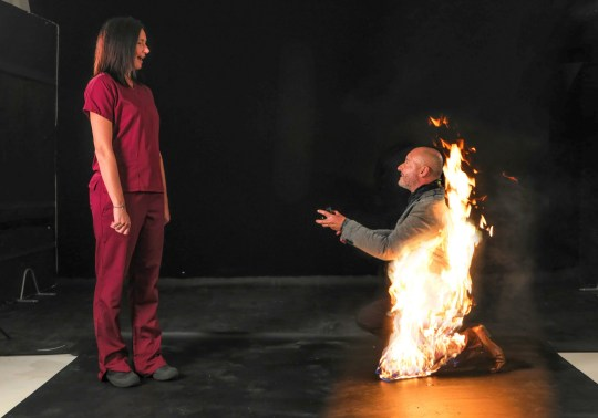 Riky Ash proposes to his fiancee Katrina Dobson - while on fire.