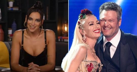 Gwen Stefani has the best reaction when Dua Lipa accidentally calls Blake Shelton her 'husband' pics: Jimmy Kimmel Show/YouTube/Getty