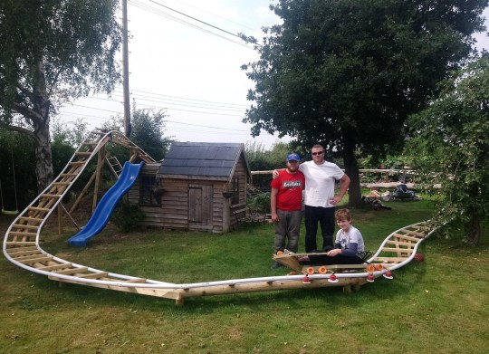A father and son completed the ultimate lockdown DIY project - by building a rollercoaster in a little boy's back garden
