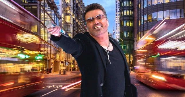 George Michael pictured in front of London cityscape background