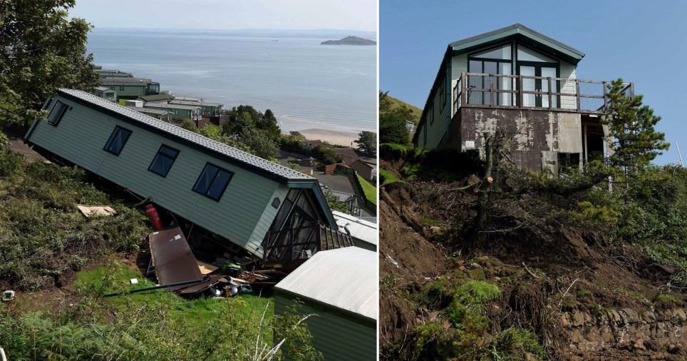 Hundreds of caravans fall down hill in landslide