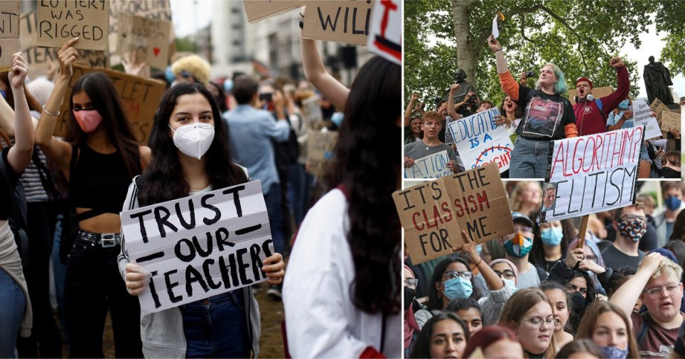 Pupils protesting in London today